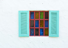 Wooden window on white wall Stock Photography