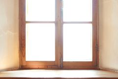 Wooden window. Wide wooden sill. royalty free stock photos