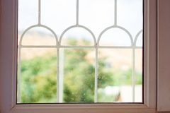 Wooden window. Wide wooden sill. stock images
