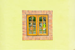 Wooden window with yellow wall Royalty Free Stock Images