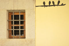 Wooden window in a yellow wall Royalty Free Stock Photos