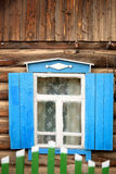 Wooden windows. Typical wooden windows of a house on Lake Baikal in Russia Stock Photo