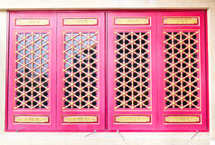 Wooden windows. In Chinese Temple royalty free stock photos