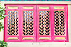 Wooden windows. In Chinese Temple stock images