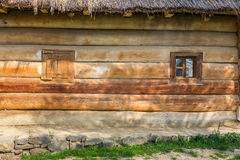 Wooden windows on a  blockhouse Royalty Free Stock Image