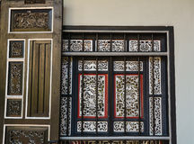 Wooden windows at Chinese temple in Penang, Malaysia Stock Photo