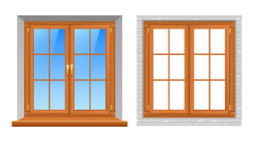 Wooden Windows Indoor Outdoor Realistic Icons Royalty Free Stock Photos