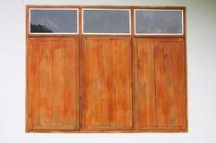 Wooden windows on rural house Stock Photo