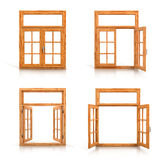 Wooden windows set Stock Image
