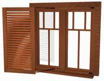 Wooden windows with shutters Stock Images