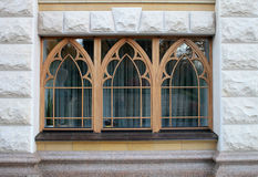 Wooden windows of the stone house Royalty Free Stock Images