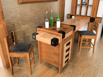 Wooden Wine Bar Stock Photography