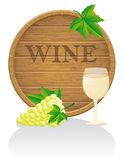 Wooden wine barrel and glass vector illustration E Royalty Free Stock Photography