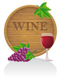 Wooden wine barrel and glass vector illustration E Stock Photo
