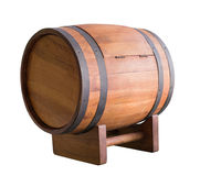 Wooden wine barrel with iron ring isolated on white with clippin Royalty Free Stock Image