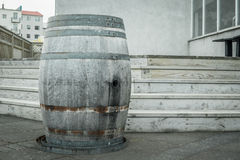 Wooden wine barrel outdoors Royalty Free Stock Images