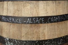 Wooden Wine Barrel Showing French Wine Regions Stock Photography