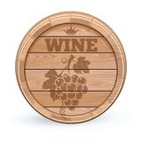 Wooden wine barrel. Wooden cask with wine emblem. Bunch of grapes emblem on a wooden barrel. Vector illustration isolated on white background stock illustration