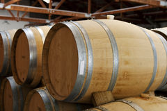 Wooden wine barrels Stock Photo