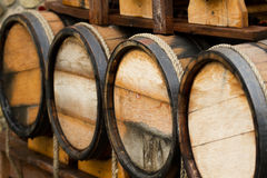 Wooden wine barrels Royalty Free Stock Images