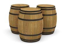 Wooden wine barrels alcohol beer barrel. 3D royalty free illustration