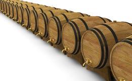 Wooden wine barrels alcohol beer barrel vector illustration