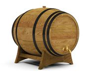 Wooden wine barrels alcohol beer barrel. 3D stock illustration