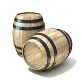 Wooden wine barrels. 3D render illustration isolated over white background Royalty Free Stock Images