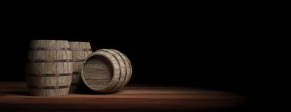 Wooden barrels on dark background. 3d illustration. Wooden wine barrels on dark background. 3d illustration Stock Photography