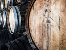 Wooden wine barrels in Quinta do Piloto, Setubal wine region, Portugal royalty free stock photos
