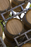 Wooden Wine barrels stacked in vinery Royalty Free Stock Photo