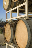 Wooden Wine Barrels On Stand Royalty Free Stock Image