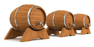 Wooden wine barrels with valve taps Royalty Free Stock Image