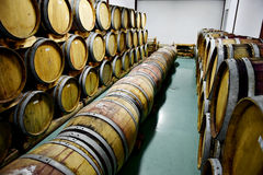 Wooden wine barrels in a wine cellar Royalty Free Stock Photography