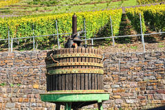 Wooden wine press for grapes Royalty Free Stock Photos