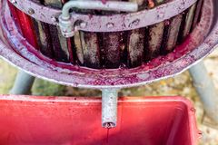 Wooden wine press with red must for pressing grapes Royalty Free Stock Images