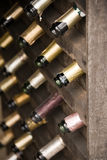 Wooden wine rack Stock Photo