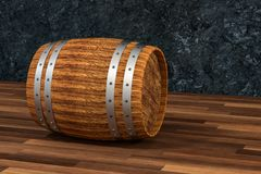 Wooden winery barrel with dark rust background, 3d rendering. Computer digital background bucket old container rustic retro handmade ancient rural isolated stock illustration