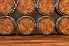 Wooden winery barrel with warm color background, 3d rendering. Computer digital background bucket old vintage container rustic retro handmade ancient rural royalty free illustration