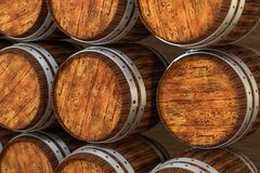 Wooden winery barrel with warm color background, 3d rendering stock illustration