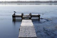 Wooden winter bridge Stock Images