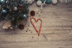 Wooden winter christmas background. Christmas wooden background - textured wooden board with Christmas garland and free text space stock photo