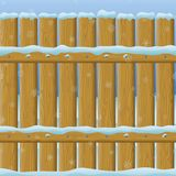 Wooden Winter Fence, Seamless Stock Photography