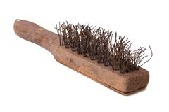 Wooden wire brush with metal bristles for rust remove Stock Photo
