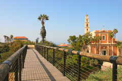 St. Peter Church and wooden bridge in Yafo, Israel. Royalty Free Stock Image