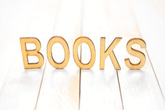 Wooden word books Stock Photo