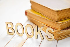 Wooden word books Royalty Free Stock Photography