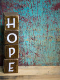 Wooden word hope distressed blocks Stock Photography