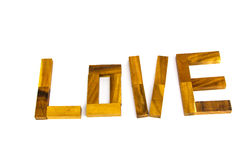Wooden words `LOVE` made from natural material letters Royalty Free Stock Photo