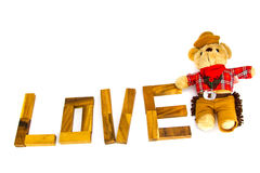 Wooden words `LOVE` made from natural material letters .Valentine background Royalty Free Stock Image